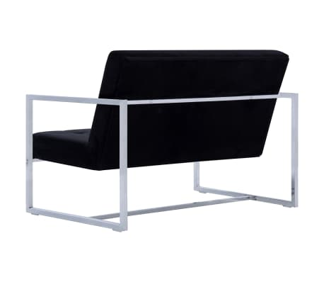 vidaXL 2-Seater Sofa with Armrests Black Chrome and Velvet[5/8]