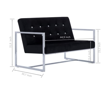 vidaXL 2-Seater Sofa with Armrests Black Chrome and Velvet[8/8]