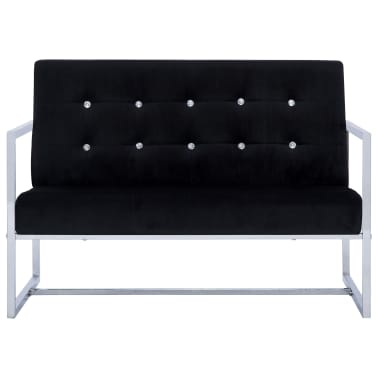 vidaXL 2-Seater Sofa with Armrests Black Chrome and Velvet[3/8]