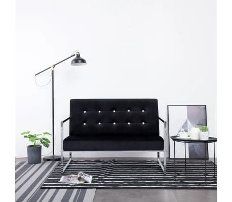 vidaXL 2-Seater Sofa with Armrests Black Chrome and Velvet[1/8]