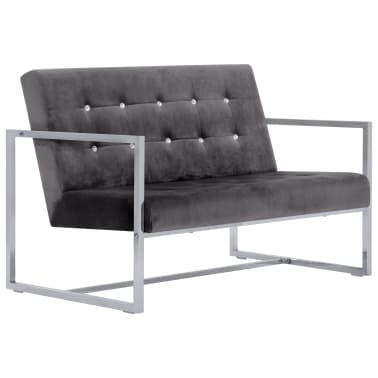 vidaXL 2-Seater Sofa with Armrests Dark Gray Chrome and Velvet[2/8]