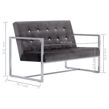 vidaXL 2-Seater Sofa with Armrests Dark Gray Chrome and Velvet[8/8]