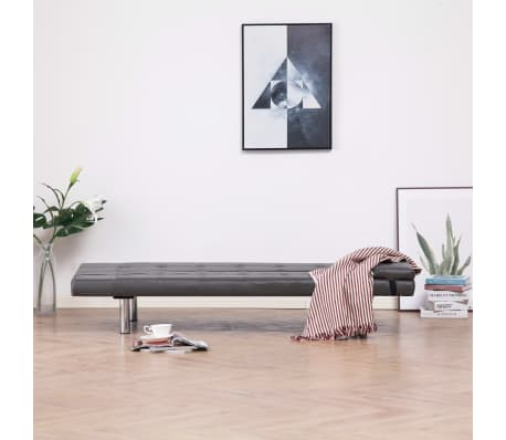 vidaXL Sofa Bed with Two Pillows Gray Faux Leather[3/12]