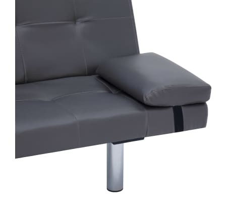 vidaXL Sofa Bed with Two Pillows Gray Faux Leather[9/12]