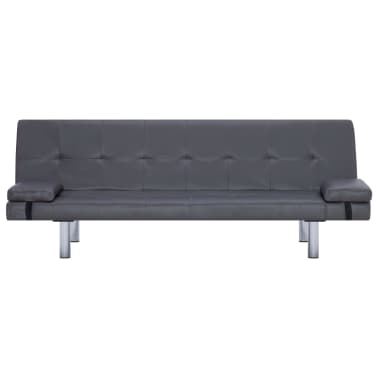 vidaXL Sofa Bed with Two Pillows Gray Faux Leather[5/12]
