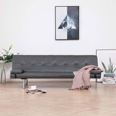 vidaXL Sofa Bed with Two Pillows Gray Faux Leather[1/12]