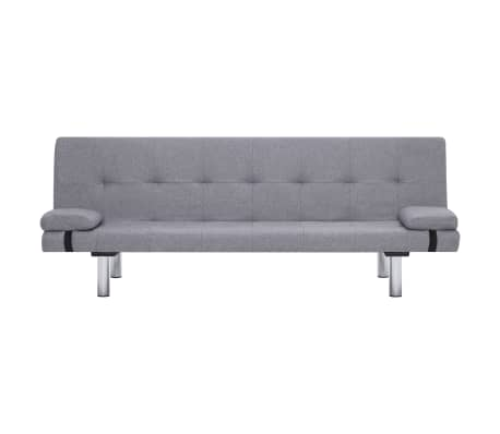 vidaXL Sofa Bed with Two Pillows Light Gray Fabric[5/12]