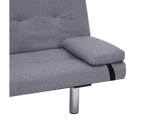 vidaXL Sofa Bed with Two Pillows Light Gray Fabric[9/12]