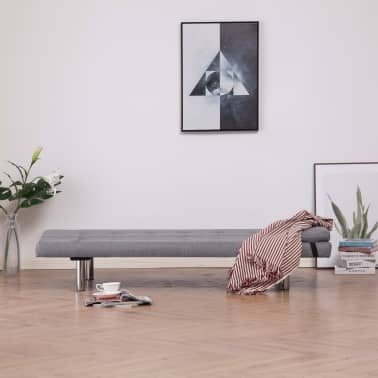 vidaXL Sofa Bed with Two Pillows Light Gray Fabric[3/12]