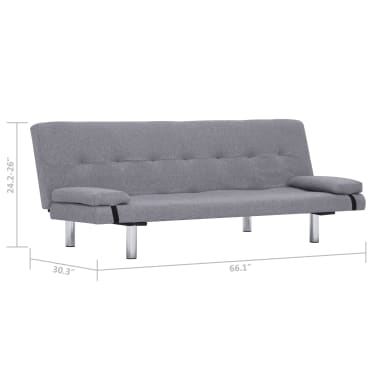 vidaXL Sofa Bed with Two Pillows Light Gray Fabric[11/12]