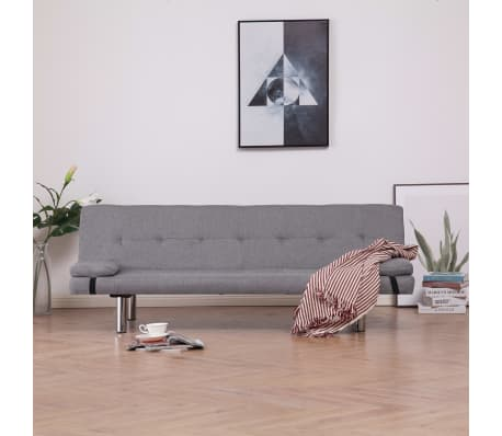 vidaXL Sofa Bed with Two Pillows Light Gray Fabric[1/12]