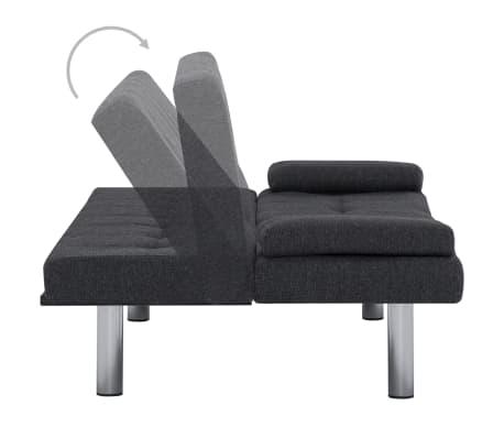 vidaXL Sofa Bed with Two Pillows Dark Gray Fabric[4/12]