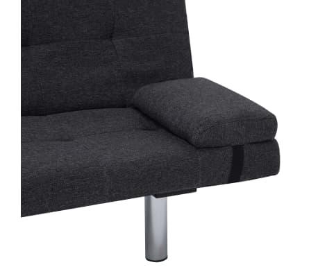 vidaXL Sofa Bed with Two Pillows Dark Gray Fabric[9/12]