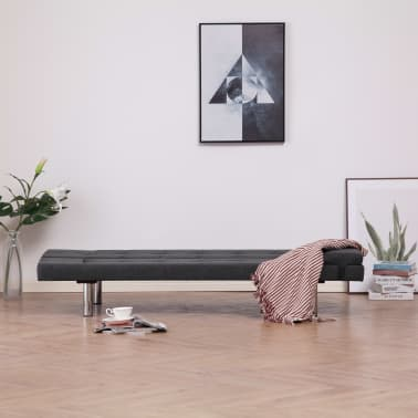 vidaXL Sofa Bed with Two Pillows Dark Gray Fabric[3/12]