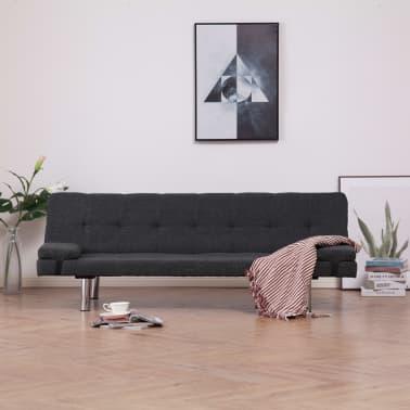 vidaXL Sofa Bed with Two Pillows Dark Gray Fabric[1/12]