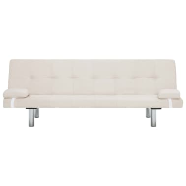 vidaXL Sofa Bed with Two Pillows Cream Fabric[5/12]