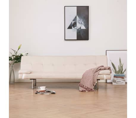 vidaXL Sofa Bed with Two Pillows Cream Fabric[1/12]