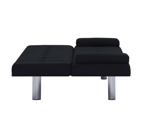 vidaXL Sofa Bed with Two Pillows Black Fabric[9/12]