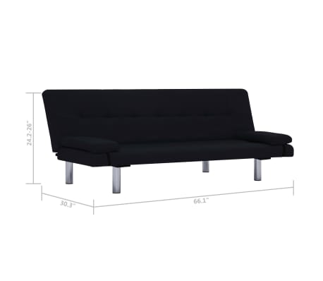 vidaXL Sofa Bed with Two Pillows Black Fabric[11/12]