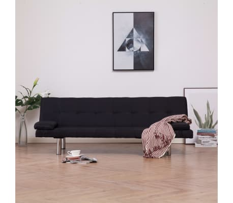 vidaXL Sofa Bed with Two Pillows Black Fabric[1/12]