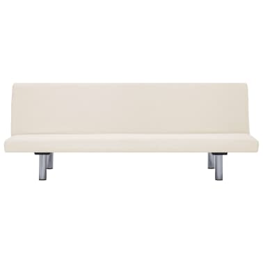 vidaXL Sofa Bed Cream Fabric[4/10]