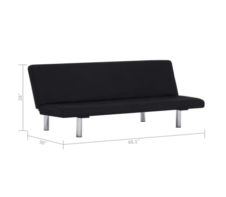 vidaXL Sofa Bed Black Fabric[10/10]