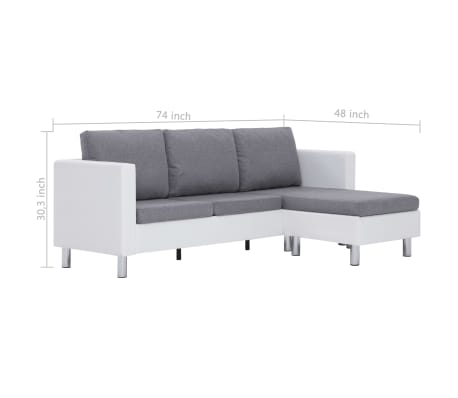 vidaXL 3-Seater Sofa with Cushions White Faux Leather[9/9]