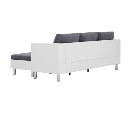vidaXL 3-Seater Sofa with Cushions White Faux Leather[5/9]