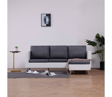 vidaXL 3-Seater Sofa with Cushions White Faux Leather[1/9]