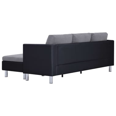 vidaXL 3-Seater Sofa with Cushions Black Faux Leather[6/9]