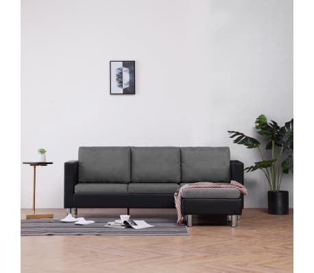 vidaXL 3-Seater Sofa with Cushions Black Faux Leather[1/9]