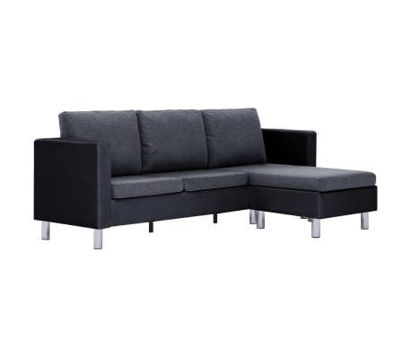 vidaXL 3-Seater Sofa with Cushions Black Faux Leather[2/9]