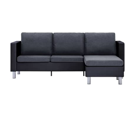 vidaXL 3-Seater Sofa with Cushions Black Faux Leather[5/9]