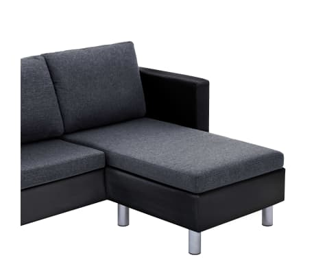 vidaXL 3-Seater Sofa with Cushions Black Faux Leather[8/9]