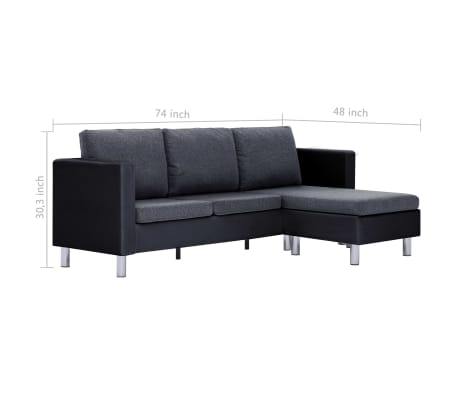 vidaXL 3-Seater Sofa with Cushions Black Faux Leather[9/9]