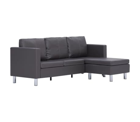 vidaXL 3-Seater Sofa with Cushions Gray Faux Leather[2/8]