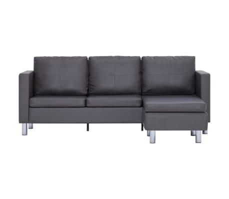 vidaXL 3-Seater Sofa with Cushions Gray Faux Leather[4/8]