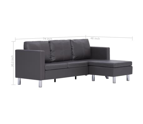 vidaXL 3-Seater Sofa with Cushions Gray Faux Leather[8/8]