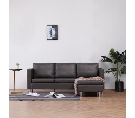 vidaXL 3-Seater Sofa with Cushions Gray Faux Leather[1/8]