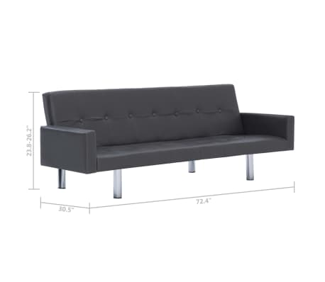 vidaXL Sofa Bed with Armrest Gray Faux Leather[10/10]