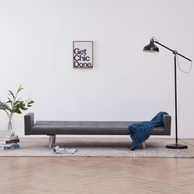 vidaXL Sofa Bed with Armrest Gray Faux Leather[3/10]