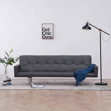 vidaXL Sofa Bed with Armrest Gray Faux Leather[1/10]