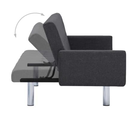 vidaXL Sofa Bed with Armrest Dark Gray Fabric[6/10]