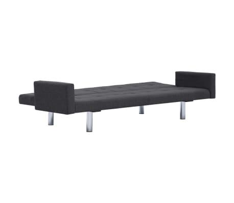 vidaXL Sofa Bed with Armrest Dark Gray Fabric[7/10]