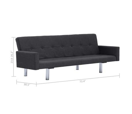 vidaXL Sofa Bed with Armrest Dark Gray Fabric[10/10]