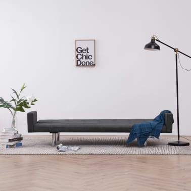 vidaXL Sofa Bed with Armrest Dark Gray Fabric[3/10]