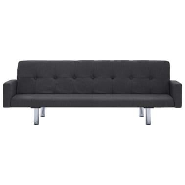 vidaXL Sofa Bed with Armrest Dark Gray Fabric[4/10]