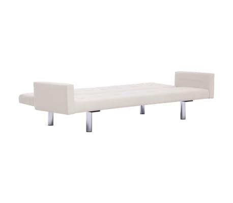 vidaXL Sofa Bed with Armrest Cream Fabric[7/10]