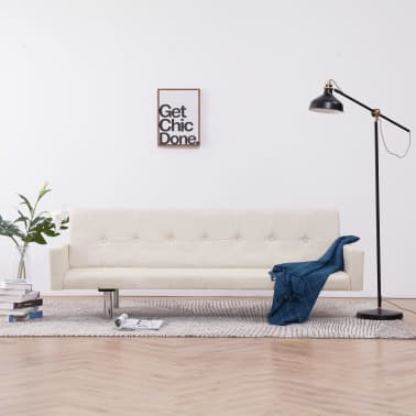 vidaXL Sofa Bed with Armrest Cream Fabric[1/10]