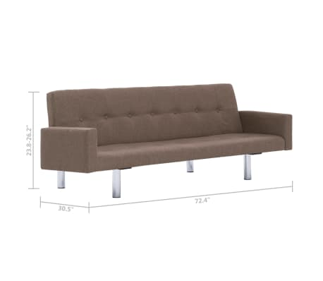 vidaXL Sofa Bed with Armrest Brown Fabric[10/10]